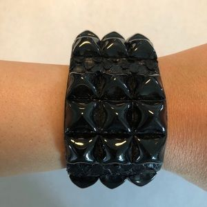 Snakeskin print leather studded cuff bracelet